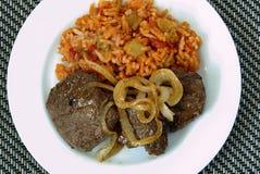 Venison steak and rice Stock Photos