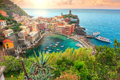 Vernazza village and stunning sunrise,Cinque Terre,Italy,Europe Royalty Free Stock Photos