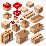 Verpacken 01 Gegenstände isometrisch Stockbilder