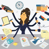 Very busy businesswoman Stock Image