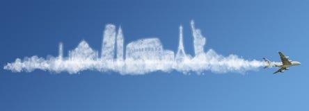 Viaggia il concetto della nube del mondo Fotografia Stock Libera da Diritti