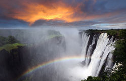 Victoria Falls, rainbow, Zambia Stock Images