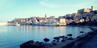 View on the Angevin-Aragonese Castle on the hill and buildings of Gaeta. Royalty Free Stock Photography