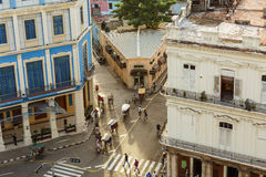 View of Cuban Havana city retro vintage style street and buildings with people in background Stock Images
