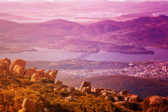 View of Hobart city, Mount Wellington Royalty Free Stock Image