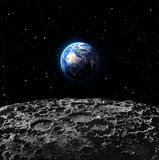 Views of Earth from the moon surface Stock Photos