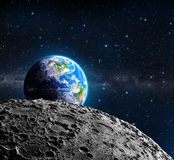 Views of Earth from the moon surface Royalty Free Stock Photos