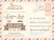 Vintage airmail postcard background template for wedding invitation Royalty Free Stock Photos