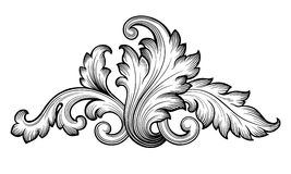 Vintage baroque floral scroll ornament vector Stock Photos