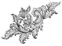 Vintage baroque frame scroll ornament vector Stock Photos