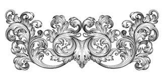 Vintage baroque frame scroll ornament vector Royalty Free Stock Photos