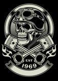 Vintage Biker Skull With Crossed Piston Emblem Stock Photography