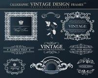 Vintage black frames ornament set. Vector element decor Stock Photography