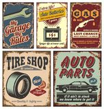 Vintage car metal signs and posters Royalty Free Stock Photos