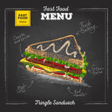 Vintage chalk drawing fast food menu. Sandwich Royalty Free Stock Images