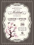 Vintage cherry blossom Wedding invitation border and frame Stock Photos