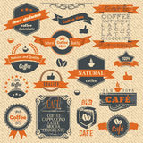 Vintage Coffee Stamps and Label Design Backgrounds Stock Images