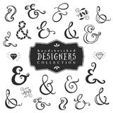 Vintage decorative ampersands collection. Hand drawn vector Stock Photography