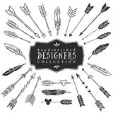 Vintage decorative arrows and feathers collection. Hand drawn Royalty Free Stock Photo