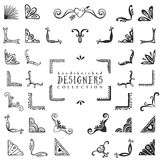 Vintage decorative corners collection. Hand drawn vector design Stock Images