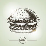 Vintage fast food sandwich Royalty Free Stock Photos