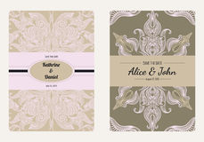 Vintage floral save the date or wedding invitation card collection. Retro vector romantic card template. Stock Photos