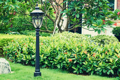 Vintage garden lamp outdoor light landscape lighting Royalty Free Stock Image