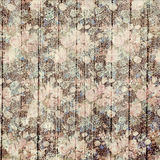 Vintage grungy flowers and wood grain background design Stock Photos