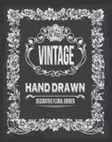 Vintage hand drawn floral chalkboard decorative border Royalty Free Stock Image