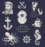 Vintage Hand Drawn Nautical Set Stock Photos