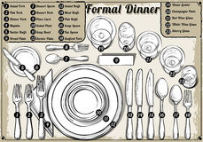 Vintage Hand Drawn Place Setting Formal Dinner Royalty Free Stock Photos