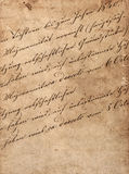 Vintage handwriting with undefined text. manuscript Stock Image