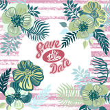 Vintage inspired summer tropical flowers and leaves. Royalty Free Stock Images