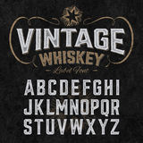 Vintage label font with sample design Stock Photography