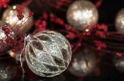 Vintage Mercury Silver Christmas Ornament Stock Images