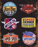 Vintage Motor Oil Signs and Label Set Royalty Free Stock Photos