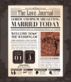 Vintage Newspaper Wedding Invitation card Design Royalty Free Stock Photo