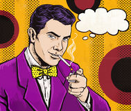 Vintage Pop Art Man with cigarette  and with speech bubble.Party invitation. Man from comics.Playboy.Dandy. Royalty Free Stock Photo
