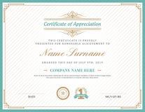Vintage retro art deco frame certificate background template Stock Photo