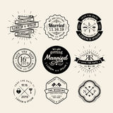 Vintage retro wedding logo frame badge design element Royalty Free Stock Images