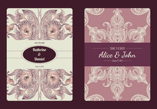 Vintage save the date or wedding invitation card collection. Vector romantic card template. Royalty Free Stock Images