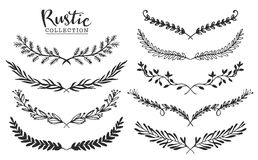 Vintage set of hand drawn rustic laurels. Floral vector graphic. Stock Photography