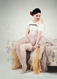 Vintage sexy young woman in corset Royalty Free Stock Images