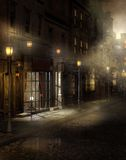 Vintage street at night Royalty Free Stock Photography