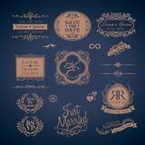 Vintage Style Wedding Monogram border and frames Royalty Free Stock Photo