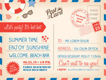 Vintage summer holiday postcard background template for invitati Royalty Free Stock Photography