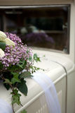 Vintage Wedding Car Decorated with Flowers. Royalty Free Stock Photography