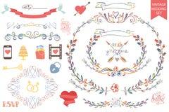 Vintage wedding Floral doodle Decor,icons set Royalty Free Stock Photos