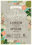 Vintage wedding invitation card with cute flourish background Royalty Free Stock Image