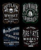 Vintage Whiskey Label T-shirt Graphic Set Stock Photos